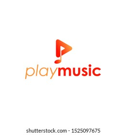 Play icon and letter p with music not icon logo design.