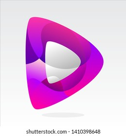 play icon logo design inspiration . play button template . music logo template . video logo template . studio logo design . purple pink multimedia icon