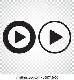 Play icon vector. Play video illustration in flat style. Simple business concept pictogram on isolated background.