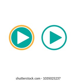 Play icons in circle.  Film or Media icon flat.  button. pictogram isolated on white background. Vector illustration.