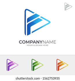 Play Letter F Logo Design In Various Color Option, Initial Letter F, Media Player Logo Icon, Modern Play Button Logo, Abstract Triangle/Arrow Vector