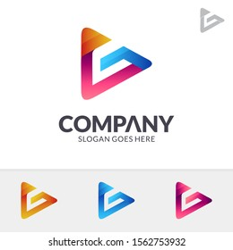 Play Letter G Logo Design In Various Color Option, Initial Letter F, Media Player Logo Icon, Modern Play Button Logo, Abstract Triangle/Arrow Vector