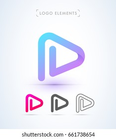Play letter p icon. Music and video logo elements