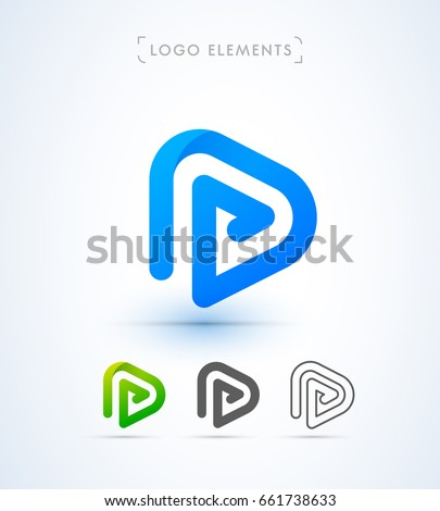 Play Letter P Icon Music Video Stock Vector (Royalty Free