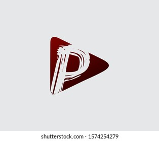 Play Letter P Logo Icon, music, audio and movie icon design concept.