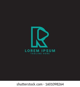 Play letter r icon. Music and video logo elements
