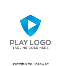 Play Logo For Technology Design With Colorful Shield Style Concept. Digital Logo Company with Media Player Concept. Gradient and Emblem Protect, Safety Symbols. Play Icon for Business, Studio, Media.