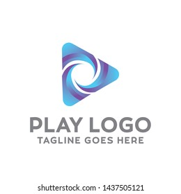 Play Logo For Technology Design With Colorful Style Concept. Digital Logo Company with Media Player Concept. Triangle and Gradient Symbols. Play Icon for Business, Studio, Media, Internet and network