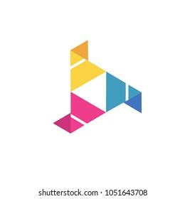 play media sign logo icon vector template
