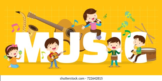 Play music concept of children group.Cartoon dancing kids and kids with musical instruments.cute child musician various actions playing music.around big Letter.