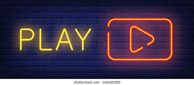 Play neon sign. Red play button on brick wall background. Vector illustration in neon style for video content and footages