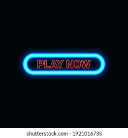 Play now button neon icon for website and UI material. vector illustration