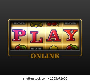 Play Online, slot machine games banner, gambling casino games, slot machine illustration with text Play Online, vector illustration