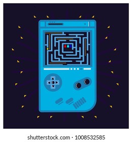 play a pacman games on game consoles, vector illustrations