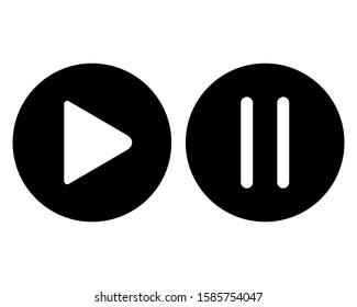 Play pause button icon design. Play and pause icon in trendy silhouette style design. Vector illustration.
