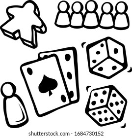 Play Set Dice Playing Cards Pawns Meeple Board Games Boardgame Gambling Chance Ace of Spades Vector Doodle Illustration Hand Drawn