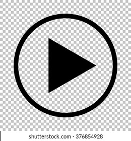 Play sign. Flat style icon on transparent background