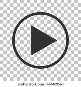 Play sign illustration. Dark gray icon on transparent background.