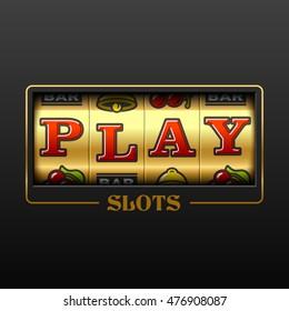 Play slot machine casino banner design element. Vector.