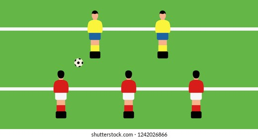 play soccer or kicker cartoon. funny character tournament. cover vector simple foosball national team toy & plastic sport group. closeup on Table football game isolated. players & figures flat design