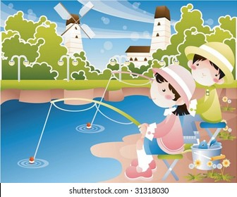 Play Time - enjoying leisure with a lovely young girl and cute boy in the isolated country village on clear sunny day on background with beautiful, bright blue sky and calm lake : vector illustration
