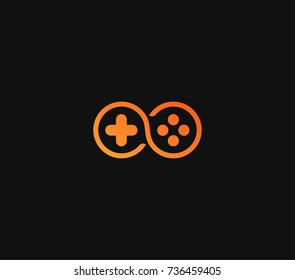 Play Unlimited Game represent by gamepad logo in orange fun gradient color