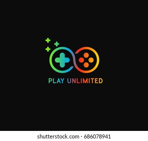 Play unlimited or infinity icon logo with 3 color gradient
