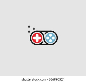 Play unlimited or infinity icon logo with fun style gamepad illustration