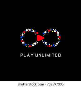 Play unlimited or infinity logo template