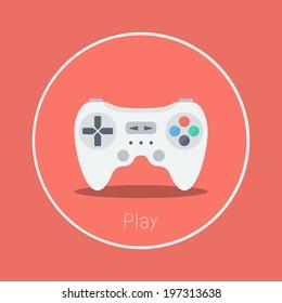 """Play : Vector """"game controller"""" icon flat design"""