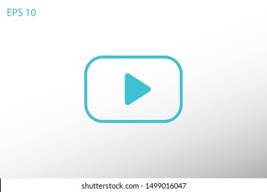 Play vector icon. Symbol button Play video. Media play icon. Audio play button. Web design icon. EPS 10