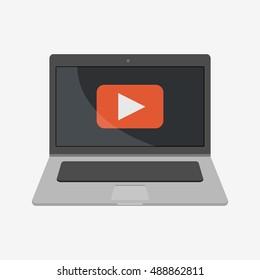 Play video sign. Laptop vector illustration icon. Flat design style. Laptop icon. macbook, mac, imac, apple. Laptop vector. Apple vector. Macbook vector. iMac vector. Stock illustration. Mac icon.