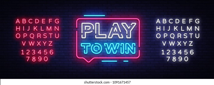 Play to win neon sign. Gambling slogan, Casino, Betting design element, Night neon signboard. Vector illustration. Editing text neon sign
