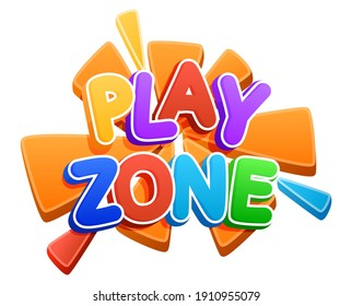 Play zone sign. Color inscription logo, game area, bubble rainbow letters. Bright, vector inscription on a white background