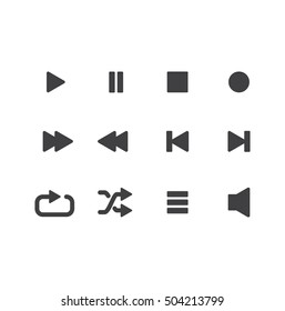 Playback Icon Set. Icons for audio player in vector