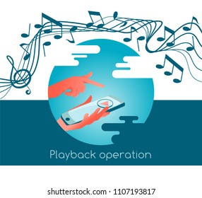 Playback operation of music in the smartphone or other gadget. Jumping notes on the stave, mobile phone in hand. Abstract drawing mobility music concpt.
