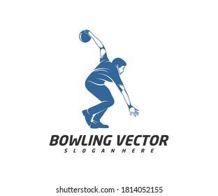 Player Bowling logo template design vector, Illustration, Creative symbol, Icon