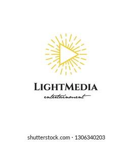 player button multimedia and monoline sunshine light logo icon vector template