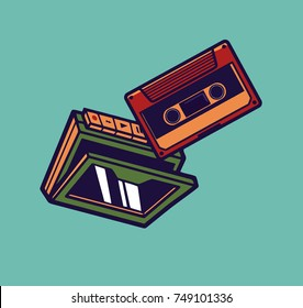 The player is cassette. Vintage player with a cassette.