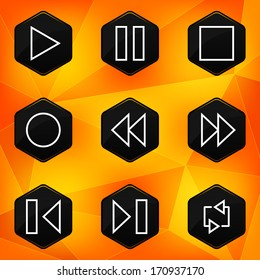Player. Hexagonal icons set on abstract orange background