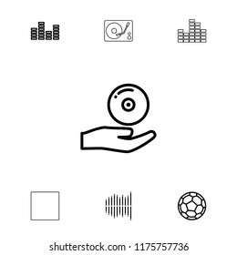 Player icon. collection of 7 player outline icons such as equalizer, cd on hand, fotball, stop. editable player icons for web and mobile.