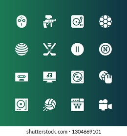 player icon set. Collection of 16 filled player icons included Video, Wikipedia, Volleyball, Turntable, DJ, Vinyl, Music player, Cassette, Napoli, Pause, Hockey, Ball, Paintball