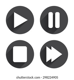Player navigation icons. Play, stop and pause signs. Next song symbol. Circles buttons with long flat shadow. Vector