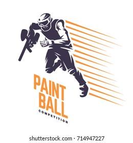 Player on the run. Paintball emblem