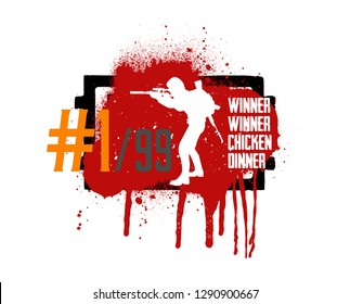 Player in PUBG, concept of games PlayerUnknown's Battlegrounds, silhouette of military man in style grunge and slogan: winner winner chicken dinner. Vector PUBG, grunge style