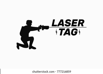 Player, soldier, laser tag game, silhouette vector illustration flat, logo with text, element for design, black, white, gun