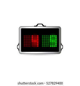 Player substitution board icon in color. Football soccer game playing