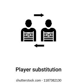 Player substitution icon vector isolated on white background, logo concept of Player substitution sign on transparent background, filled black symbol