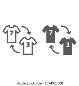 Player substitution line and glyph icon, game and sport, tshirt with arrows sign, vector graphics, a linear pattern on a white background, eps 10.