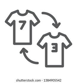 Player substitution line icon, game and sport, tshirt with arrows sign, vector graphics, a linear pattern on a white background, eps 10.